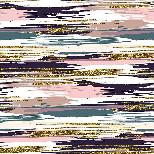 vector seamless pattern with gold glitter textured brush strokes - bohemian fashion stock illustrations, clip art, cartoons, & icons