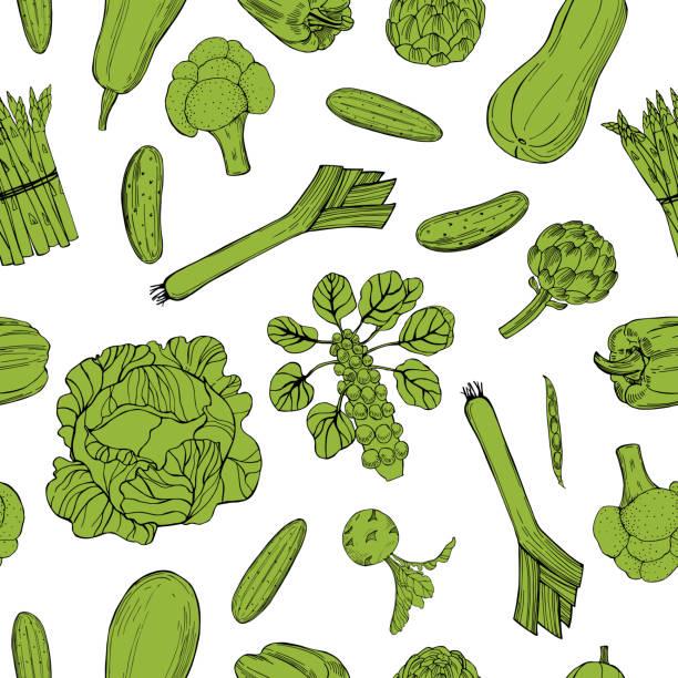 stockillustraties, clipart, cartoons en iconen met vector naadloos patroon met groene groenten. - kruisbloemenfamilie