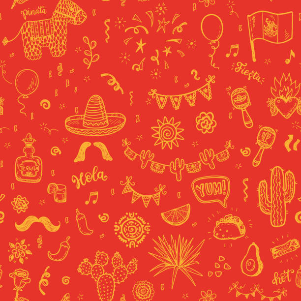 Vector seamless pattern with hand drawn doodle Mexican elements.  Independence day, Cinco de mayo celebration, party decorations for your design. Vector seamless pattern with hand drawn doodle Mexican elements.  Independence day, Cinco de mayo celebration, party decorations for your design. independence day illustrations stock illustrations