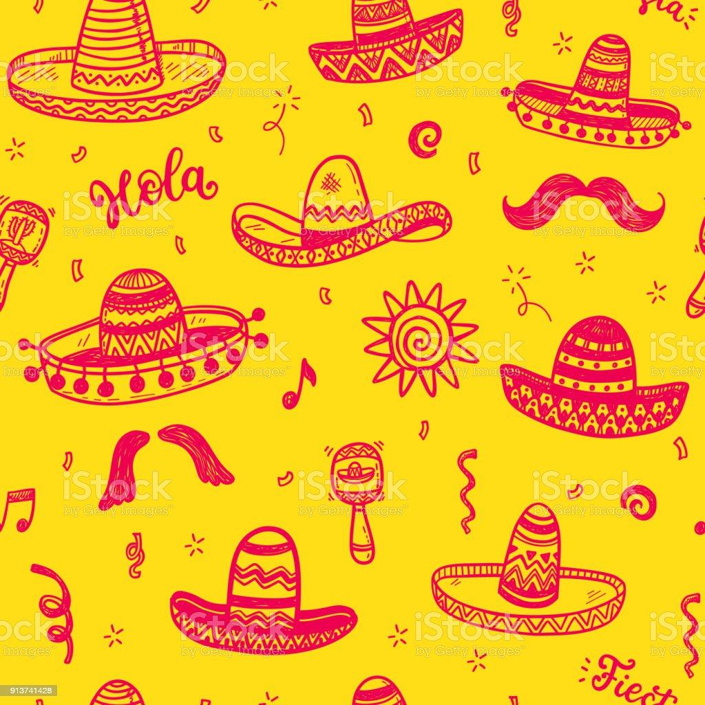 Patrón transparente de vector con mano alzada doodle sombreros mexicanos.  Día de la independencia celebración d923b9d3fd7