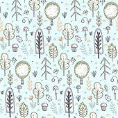 Vector seamless pattern with hand drawn forest trees, plants, flowers, mushrooms. Illustration for cards, invitations, baby shower, preschool and children room decoration