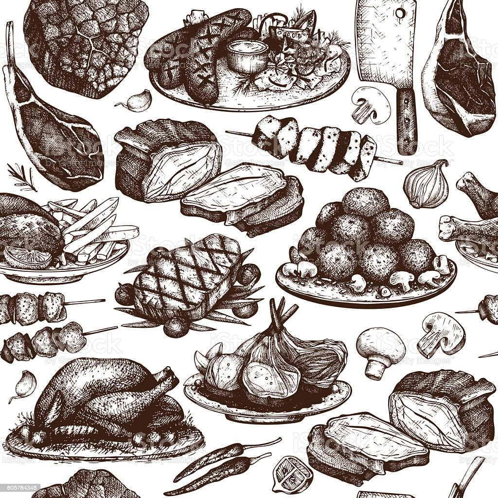 Vector seamless pattern with hand drawn meat illustration. vector art illustration