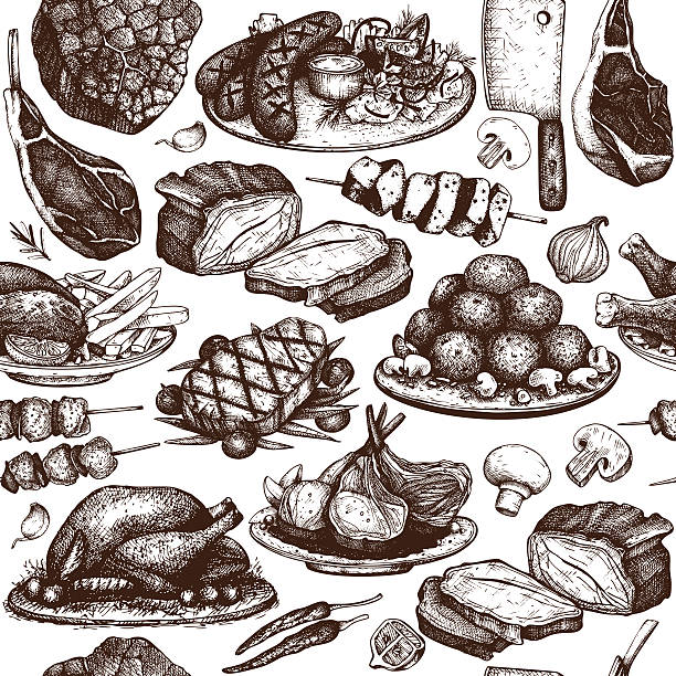 vector seamless pattern with hand drawn meat illustration. - fleisch stock-grafiken, -clipart, -cartoons und -symbole