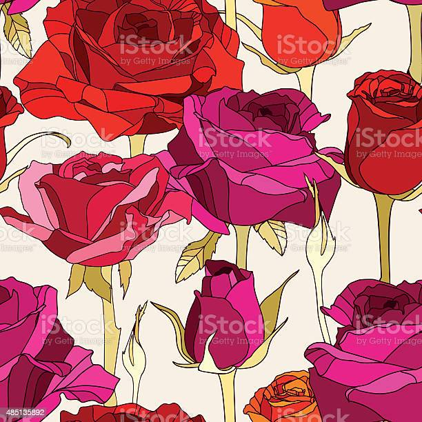 Vector seamless pattern with hand drawn roses flowers vector id485135892?b=1&k=6&m=485135892&s=612x612&h=frfye2qgnypuxvohxcusszew7rfnjv8c00qw3vqf51a=