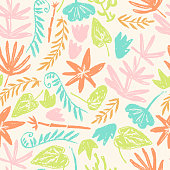 Vector seamless pattern with hand drawn textured prehistoric plants. Naive kid drawn style. Tropical herbs.