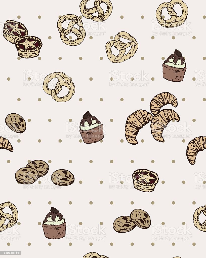Vector Seamless Pattern with Hand Drawn Vintage Bakery Isolated. vector art illustration