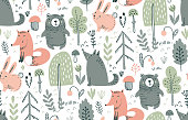 Vector seamless pattern with hand drawn wild forest animals, trees, flowers, mushrooms on the white background. Illustration for cards, invitations, baby shower, preschool and children room decoration