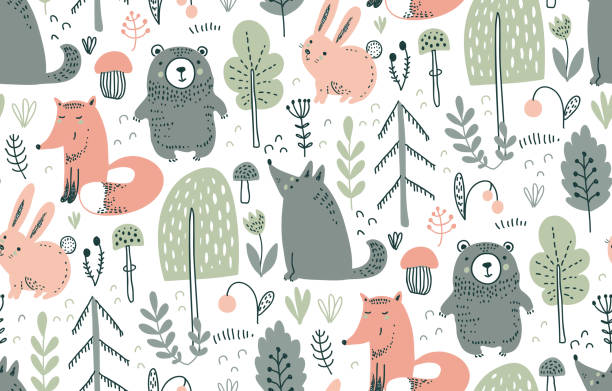 Vector seamless pattern with hand drawn wild forest animals, Vector seamless pattern with hand drawn wild forest animals, trees, flowers, mushrooms on the white background. Illustration for cards, invitations, baby shower, preschool and children room decoration woodland stock illustrations