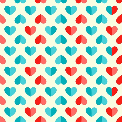 Vector seamless pattern with heart in retro style.