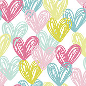 Vector illustration, seamless pattern with doodle hand drawn hearts.