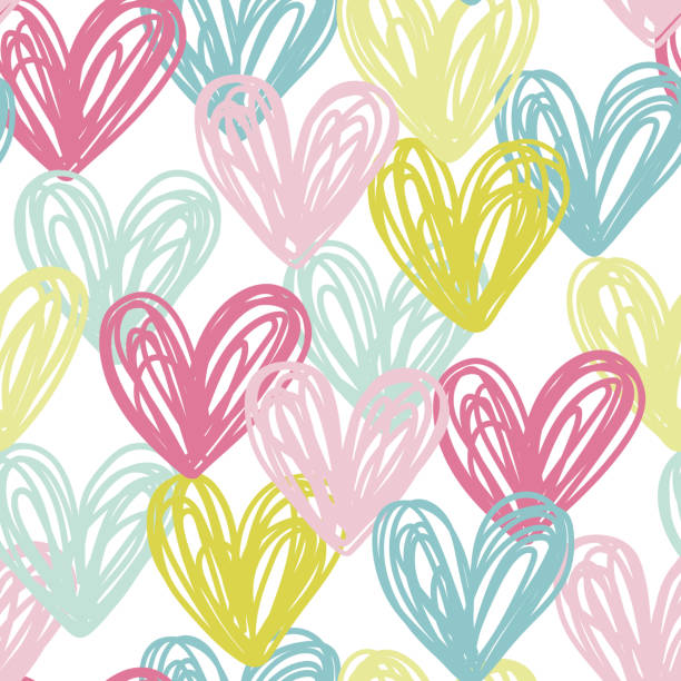 Vector seamless pattern with hearts Vector illustration, seamless pattern with doodle hand drawn hearts. baby girls stock illustrations