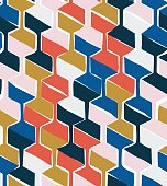 Vector seamless pattern with hexagonal woven shapes, retro-modern style repeat background with handmade feeling, perfect for web and print