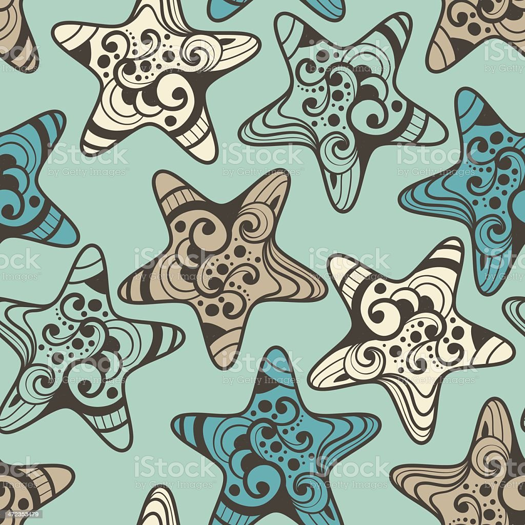 Vector Seamless Pattern with Highly Detailed Stars royalty-free stock vector art