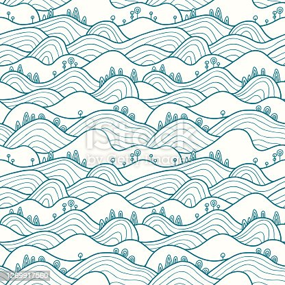 Vector seamless pattern with hills, trees, fields and peaks. Background illustration with bright landscape. Landscape pattern.