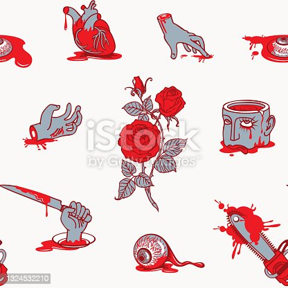 istock vector seamless pattern with horrible cartoon pictures 1324532210