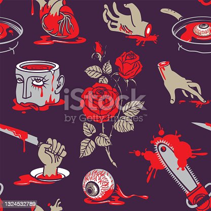 istock vector seamless pattern with horrible cartoon pictures 1324532789
