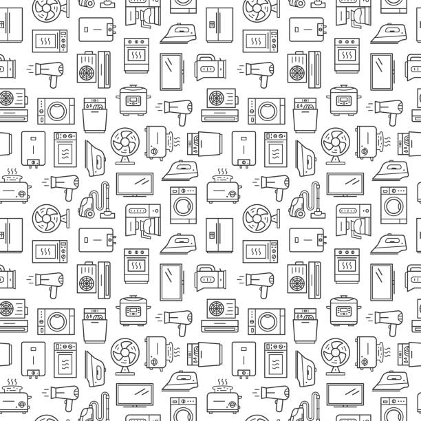 Vector seamless pattern with household appliances. Line style signs isolated on white background Vector seamless pattern with household appliances. Line style signs isolated on white background dishwashing machine stock illustrations