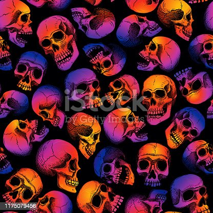Gradient fill, bright trend colors: purple, orange, blue on a black background. Background for Halloween.