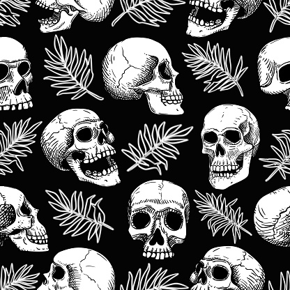 Vector seamless pattern with human white skulls and palm tropical leaves.