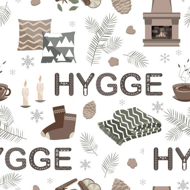 ilustrações de stock, clip art, desenhos animados e ícones de vector seamless pattern with hygge lettering and cozy things - hygge