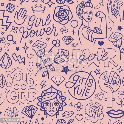 istock Vector seamless pattern with icon and hand-lettering phrases related to girl power 870448728