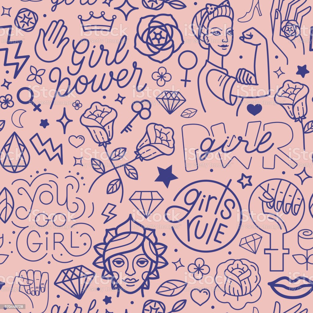 Vector seamless pattern with icon and hand-lettering phrases related to girl power vector art illustration