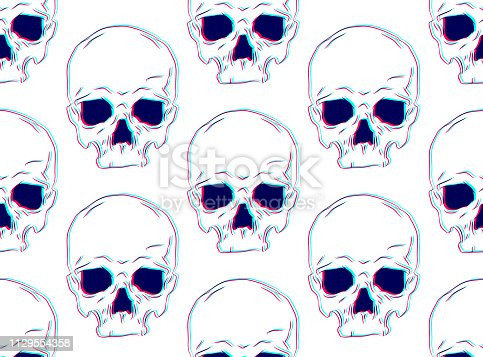istock Vector seamless pattern with illustration of human skull with 3d and stereoscopic and glitch effect on background 1129554358