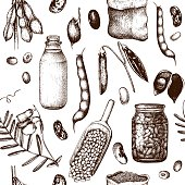 Vector seamless pattern with ink hand drawn legume crops sketches.