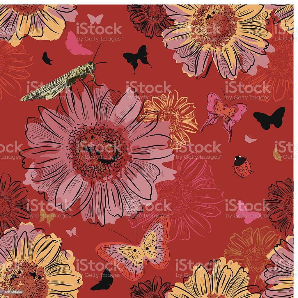 Vector Seamless Pattern with Insect and flowers royalty-free vector seamless pattern with insect and flowers stock vector art & more images of animal