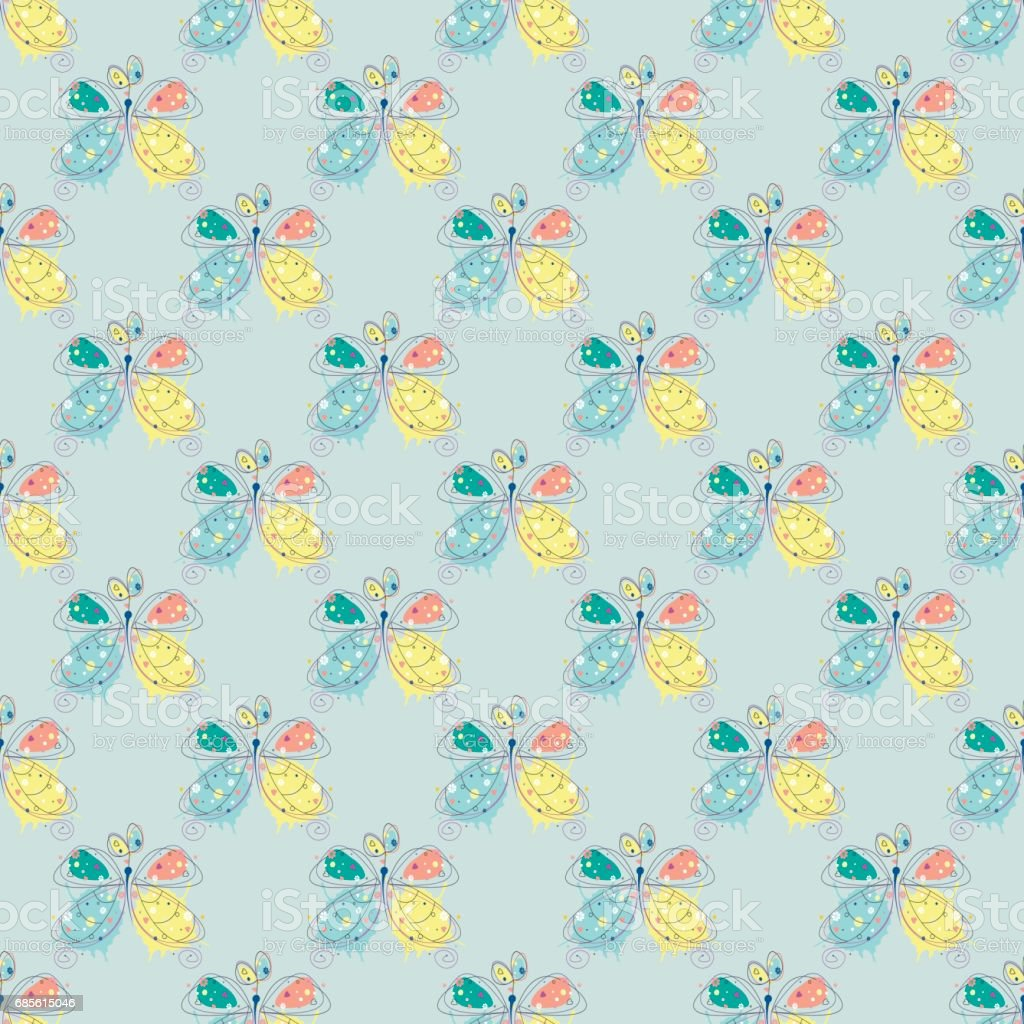 Vector seamless pattern with insect Hand drawn outline decorative endless background with cute drawn butterfly Graphic illustration. Line drawing. Print for wrapping, background, decor vector seamless pattern with insect hand drawn outline decorative endless background with cute drawn butterfly graphic illustration line drawing print for wrapping background decor - arte vetorial de stock e mais imagens de animal royalty-free