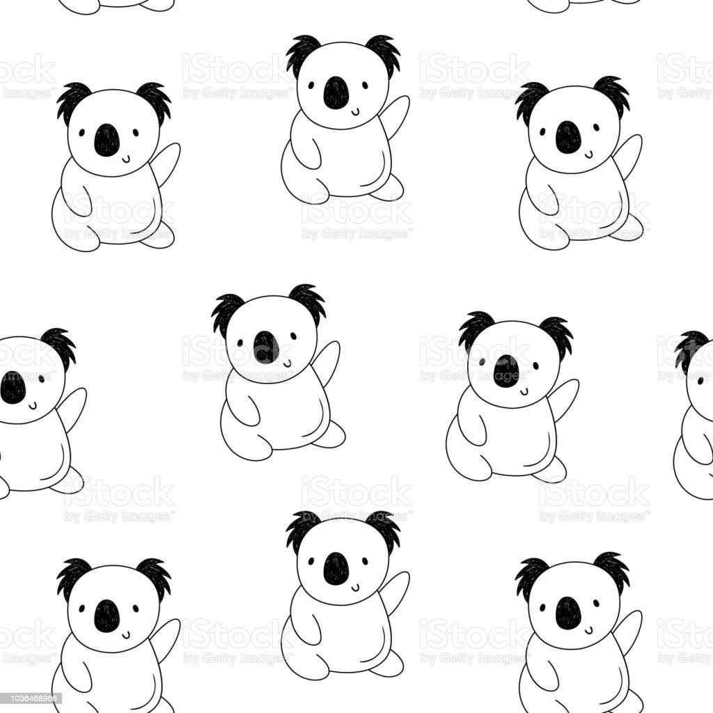 Vektor Musterdesign Mit Koalas Die Cartoonstil Zeichnen Von Hand