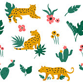 Vector seamless pattern with leopards, tropical leaves, cacti. flowers.