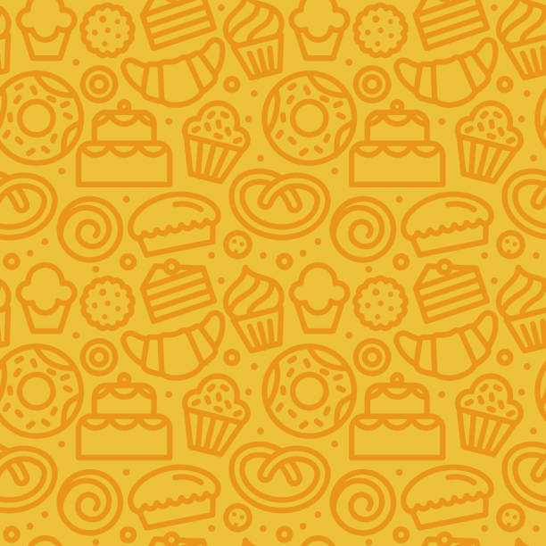 Vector seamless pattern with linear icons and illustrations related to bakery, cafe, cupcake shoplors Vector seamless pattern with linear icons and illustrations related to bakery, cafe, cupcake shop - packaging design wrapping paper and background design in yellow colors bread patterns stock illustrations