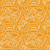 istock Vector seamless pattern with linear icons and illustrations related to bakery, cafe, cupcake shop 886532840