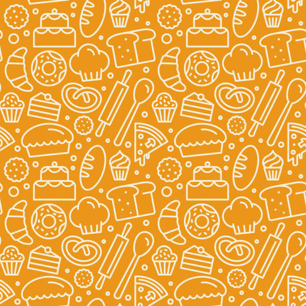Vector seamless pattern with linear icons and illustrations related to bakery, cafe, cupcake shop Vector seamless pattern with linear icons and illustrations related to bakery, cafe, cupcake shop - packaging design wrapping paper and background design in yellow colors cooking patterns stock illustrations
