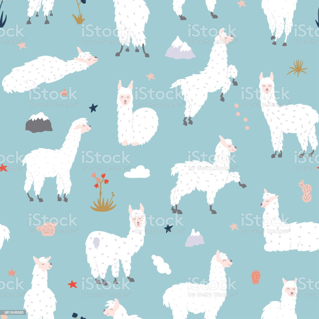 Vector seamless pattern with  llama vector art illustration