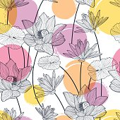 Vector seamless pattern with beautiful lotus flower and colorful watercolor blots. Black and white floral line illustration background.