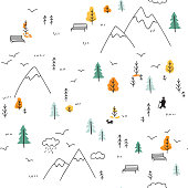Vector minimal seamless pattern with wild forest life in mountains and man with dog, birds. Can be printed and used as wrapping paper, wallpaper, textile, fabric, etc.