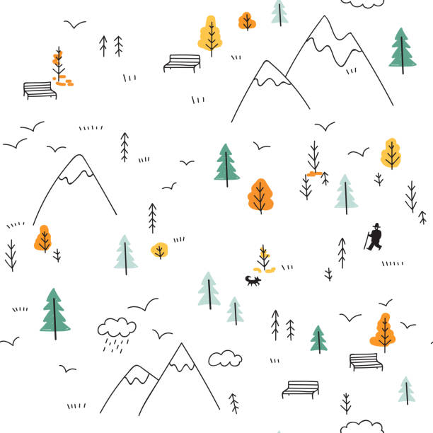 stockillustraties, clipart, cartoons en iconen met de naadloze patroon vector met man wandelen in de bergen - vogel herfst