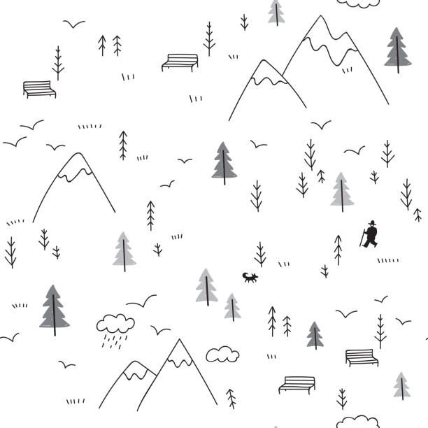 bildbanksillustrationer, clip art samt tecknat material och ikoner med vector sömlösa mönster med mannen som vandrar i bergen - hund skog