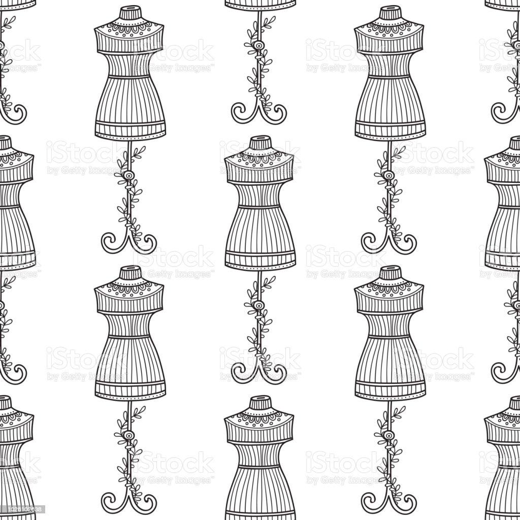 Ilustración de Patrón Transparente De Vector Con Maniquí Para Coser ...