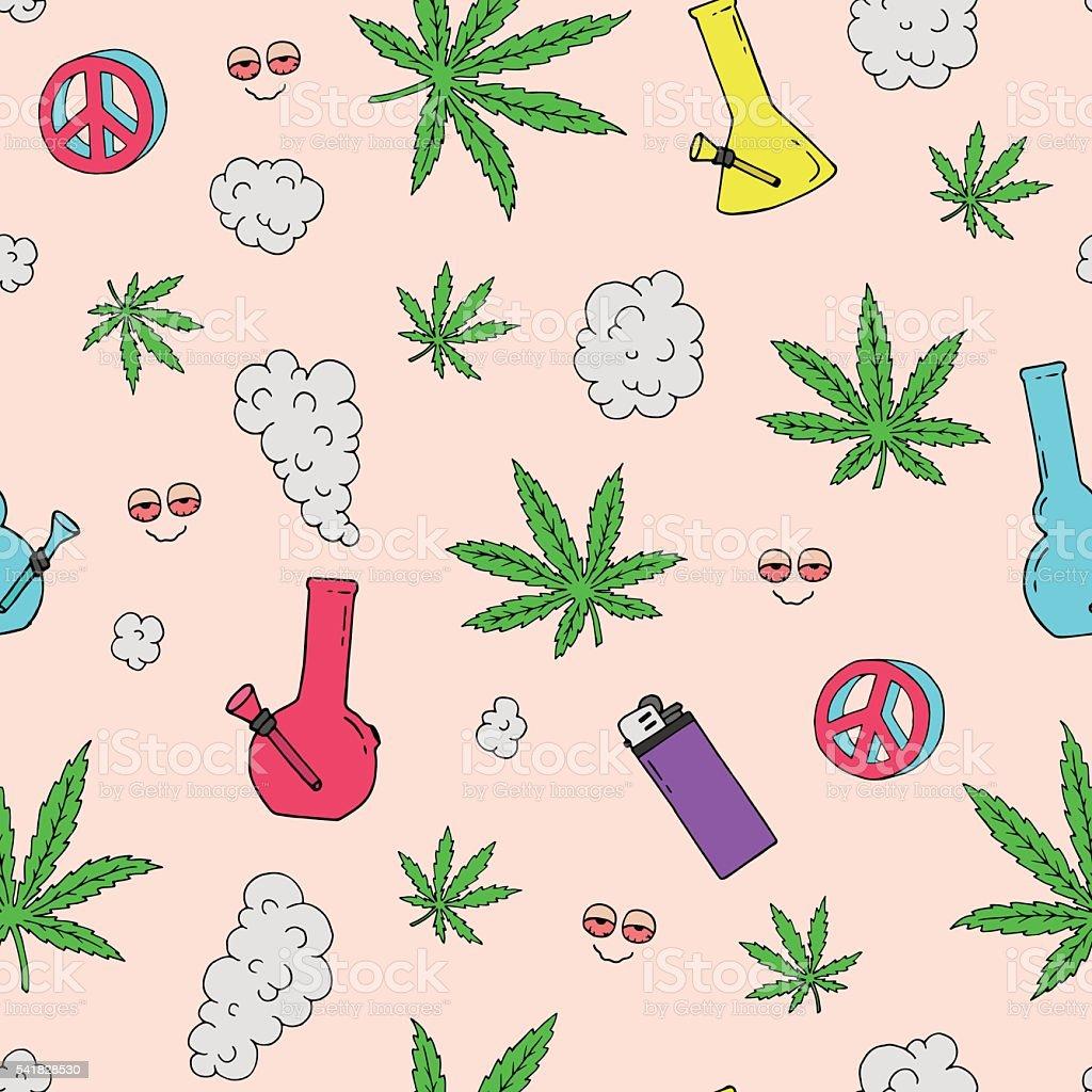 Vector seamless pattern with marijuana leaves vector art illustration