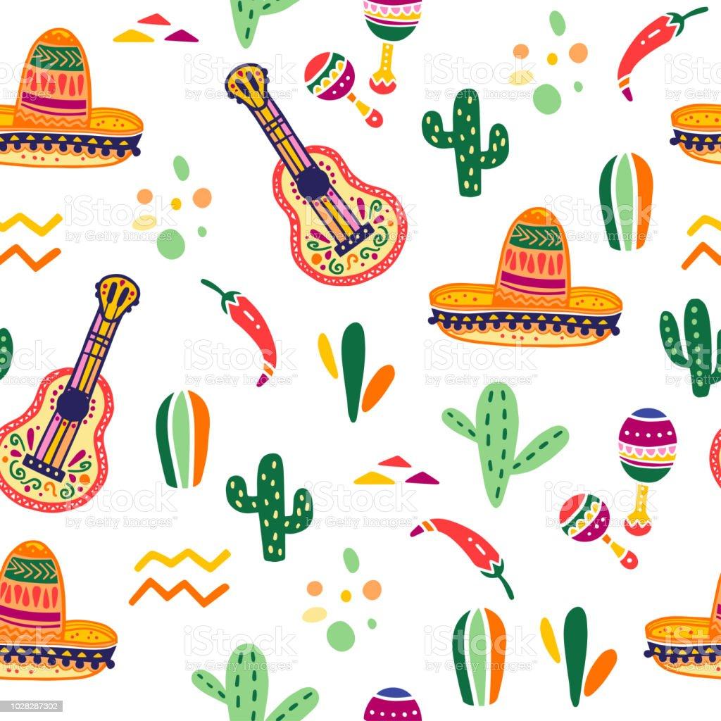 Patrón transparente de vector con México celebración tradicional decoración elementos - guitarra, sombrero, maracas, paprika, cactus y ornamentos abstractos aislados sobre fondo blanco. - ilustración de arte vectorial