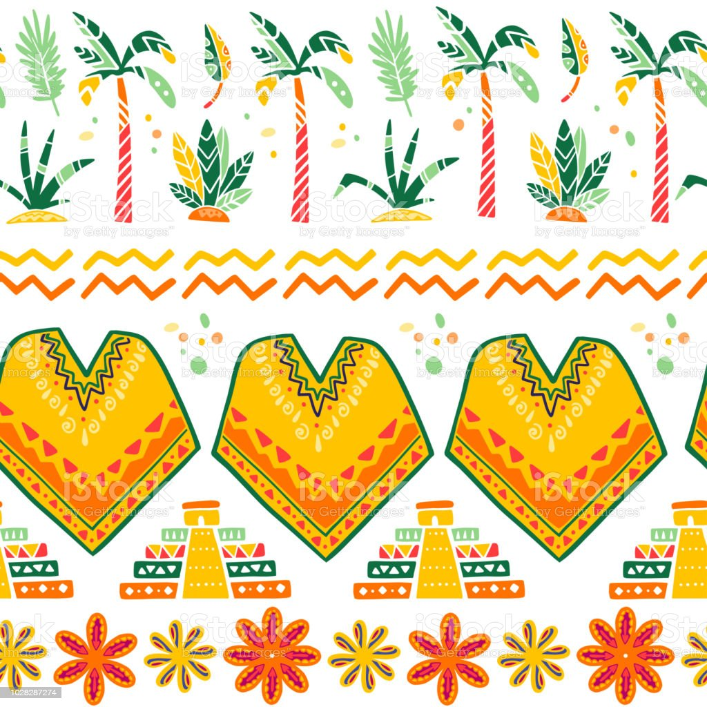 Patrón transparente de vector con los elementos de la decoración tradicional de México - poncho, pirámide maya, Palma, bush, flores, hojas, ornamento abstracto aislado sobre fondo blanco. - ilustración de arte vectorial