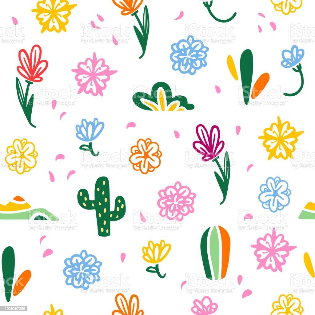 Patrón transparente de vector con los elementos de la decoración tradicional de México - con coloridas flores, pétalos, cactus aislados sobre fondo blanco. - ilustración de arte vectorial