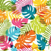 Vector seamless pattern with multicolor palm tree leaves. Summer tropical background. Trendy design for fabric and textile print.