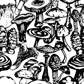 Vector seamless pattern with mushrooms