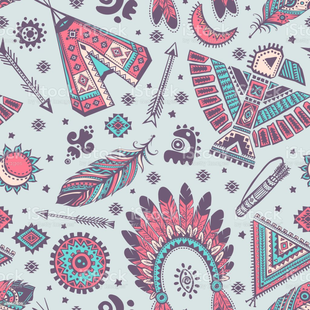 Vector Seamless Pattern With Native American Indian Symbols Stock