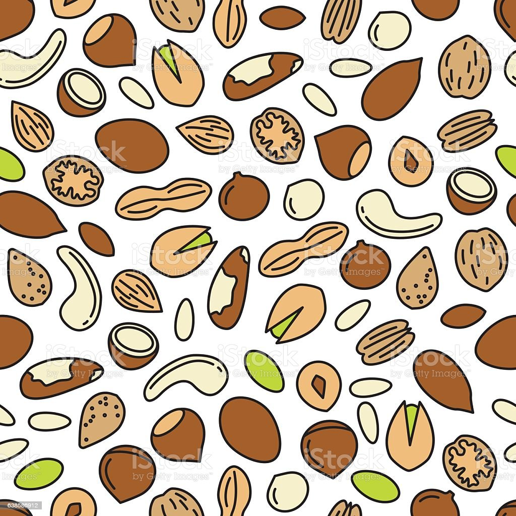 vector seamless pattern with nuts vector art illustration