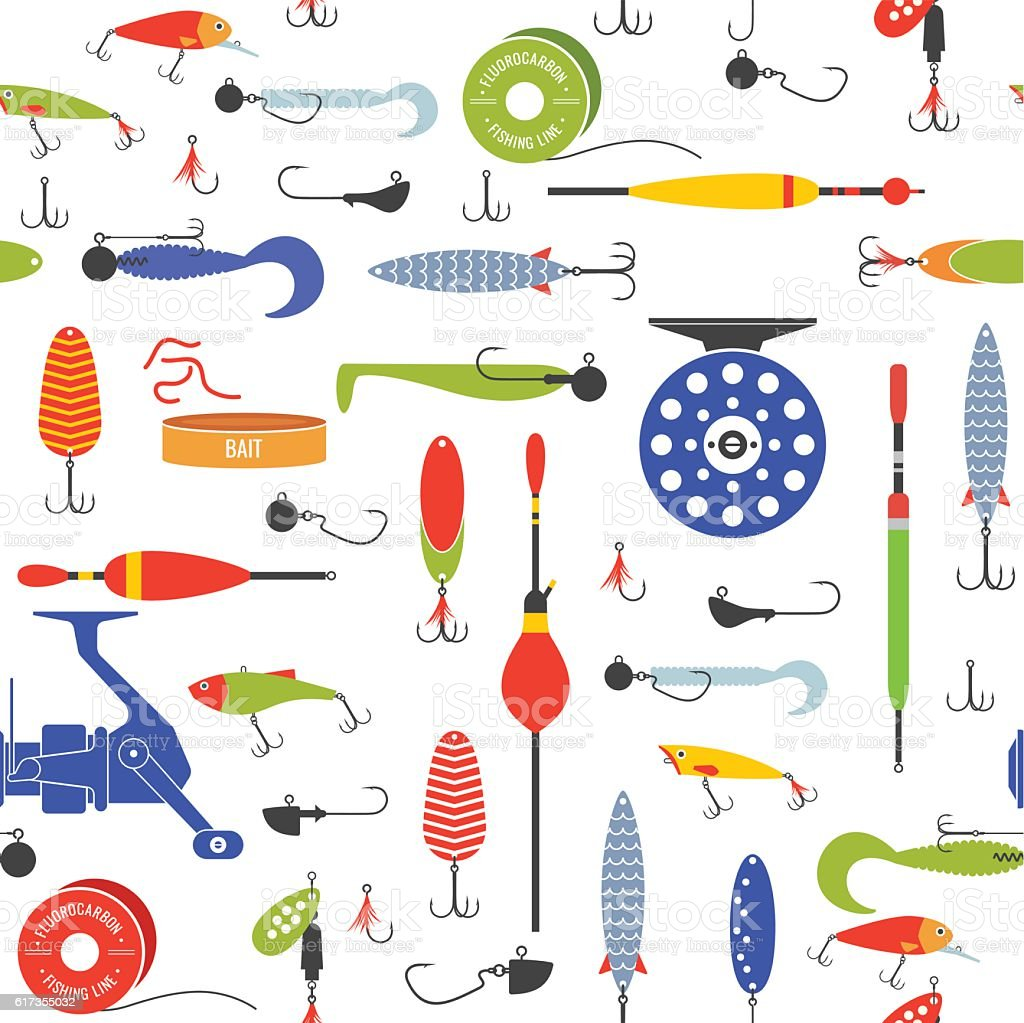 Vector seamless pattern with objects of fishing. vector art illustration